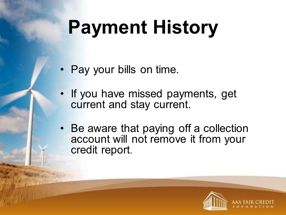 Payment History Pay your bills on time.