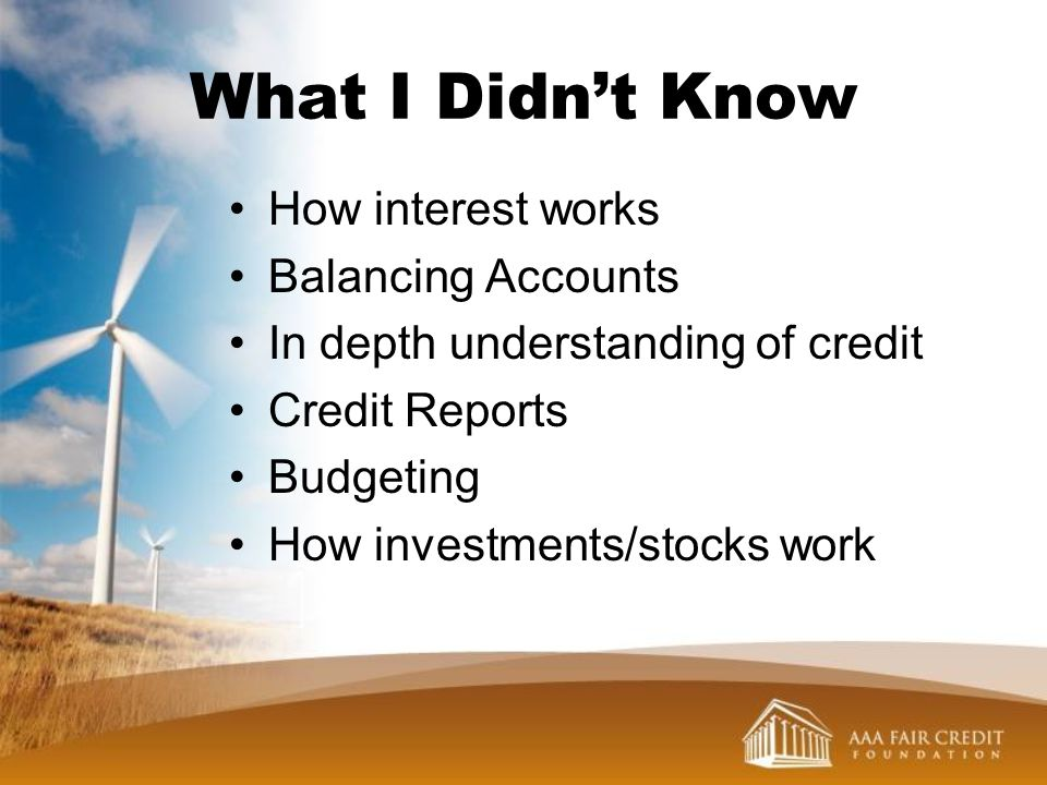What I Didn't Know How interest works Balancing Accounts