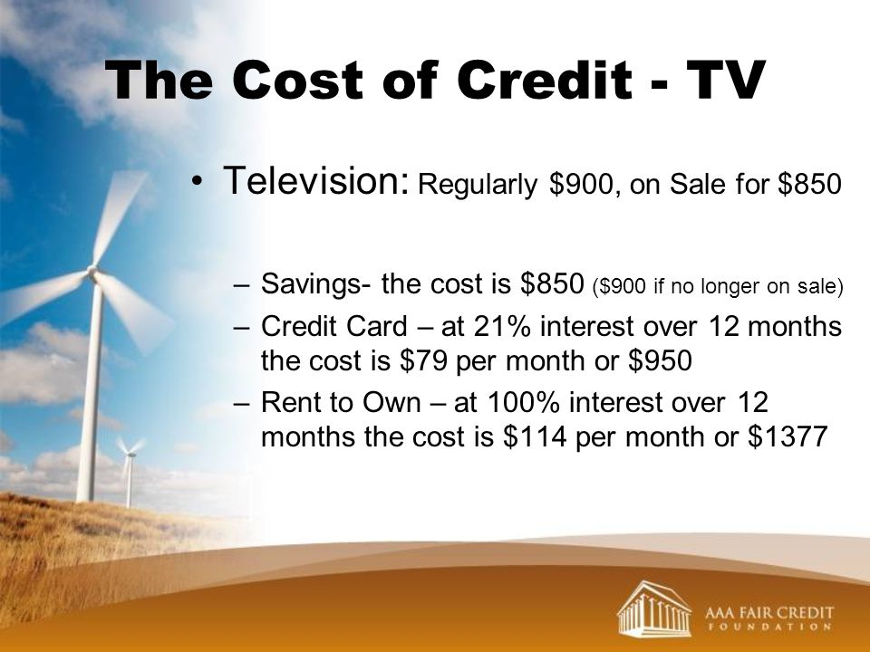 The Cost of Credit - TV Television: Regularly $900, on Sale for $850