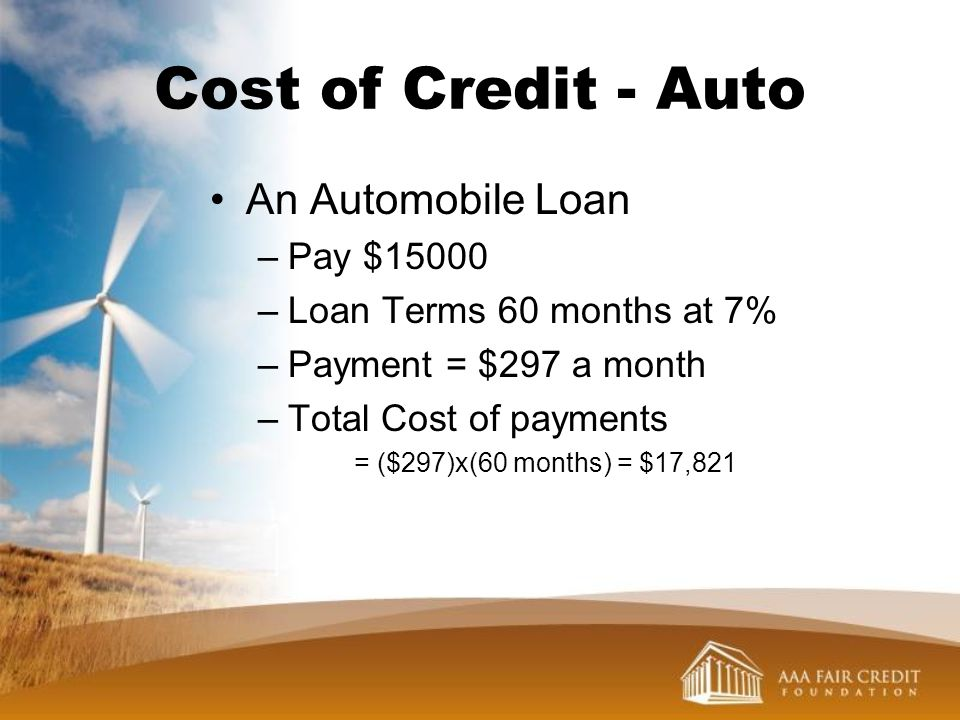 Cost of Credit - Auto An Automobile Loan Pay $15000