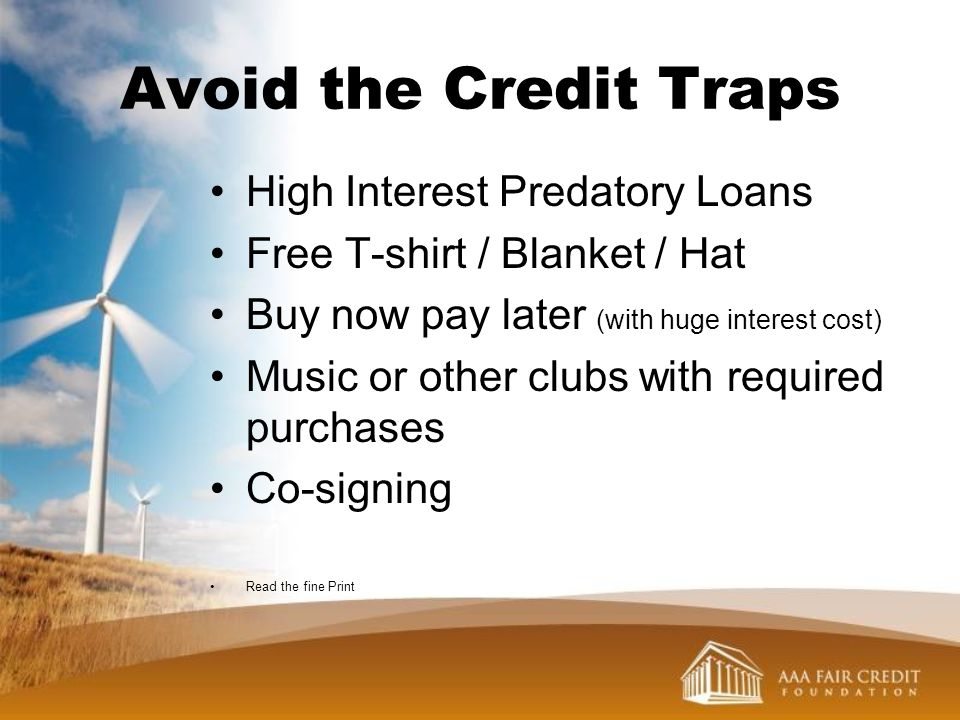 Avoid the Credit Traps High Interest Predatory Loans