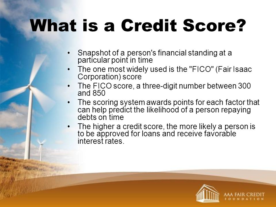 What is a Credit Score Snapshot of a person s financial standing at a particular point in time.
