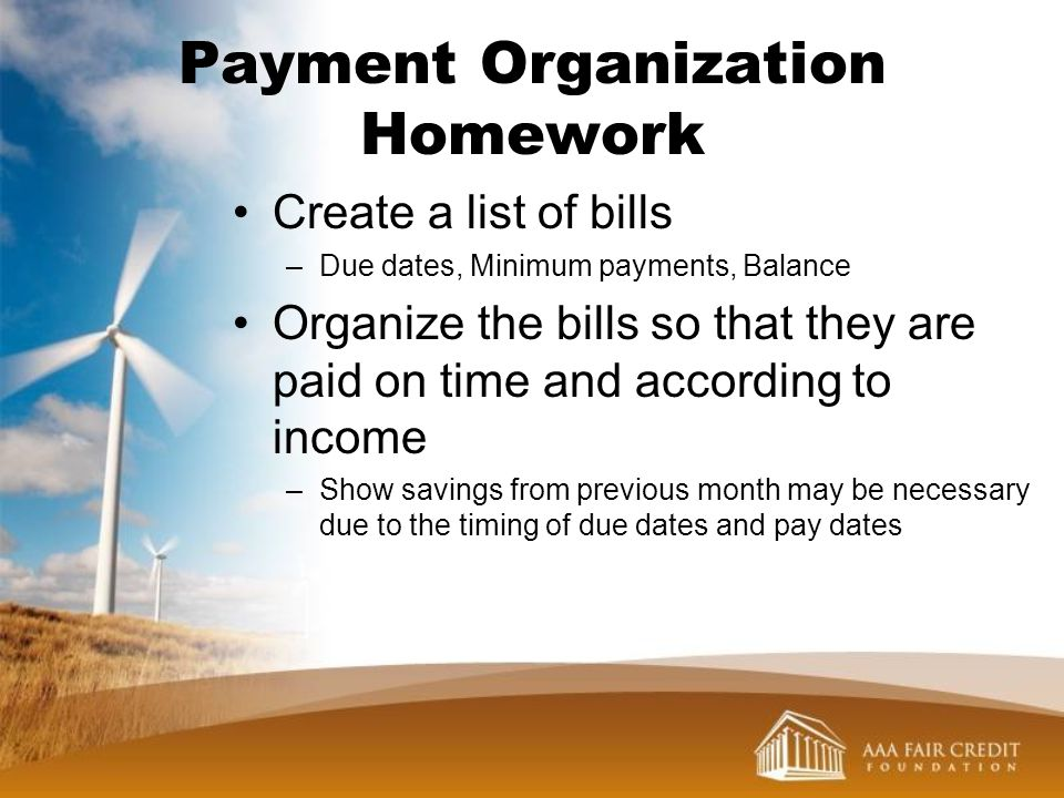 Payment Organization Homework