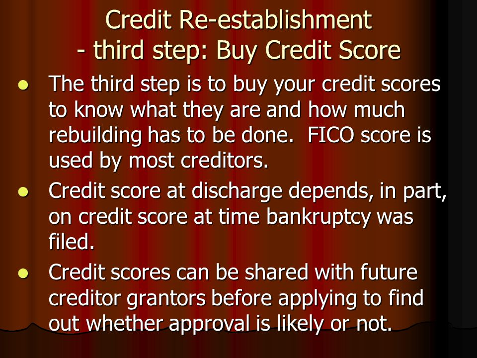 Credit Re-establishment - third step: Buy Credit Score
