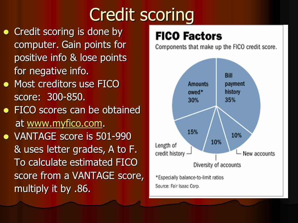 Credit scoring Credit scoring is done by computer. Gain points for