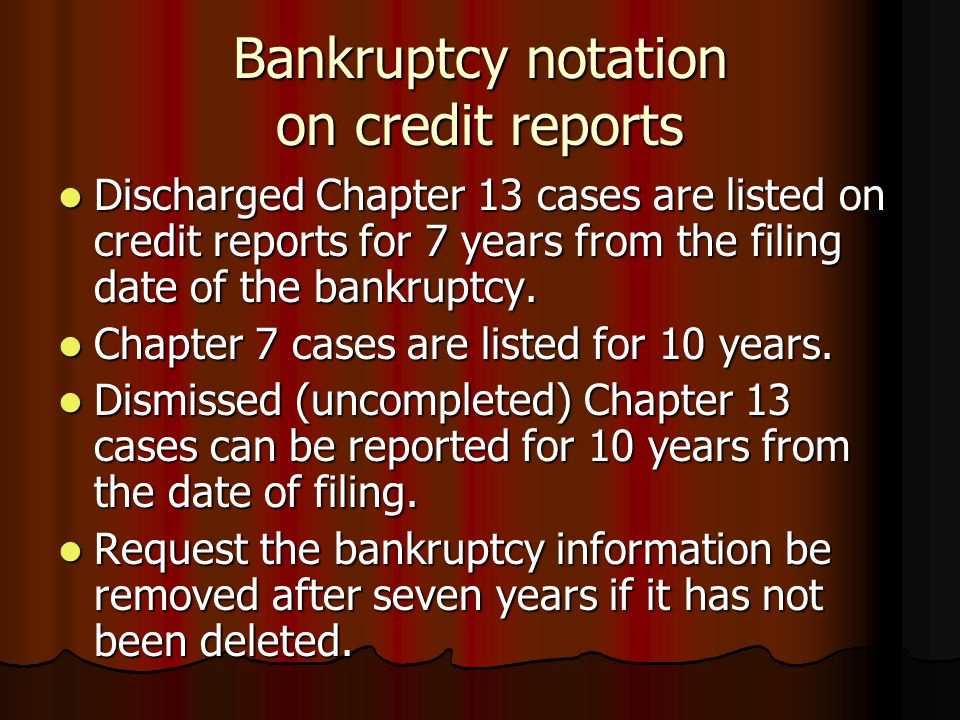 Bankruptcy notation on credit reports