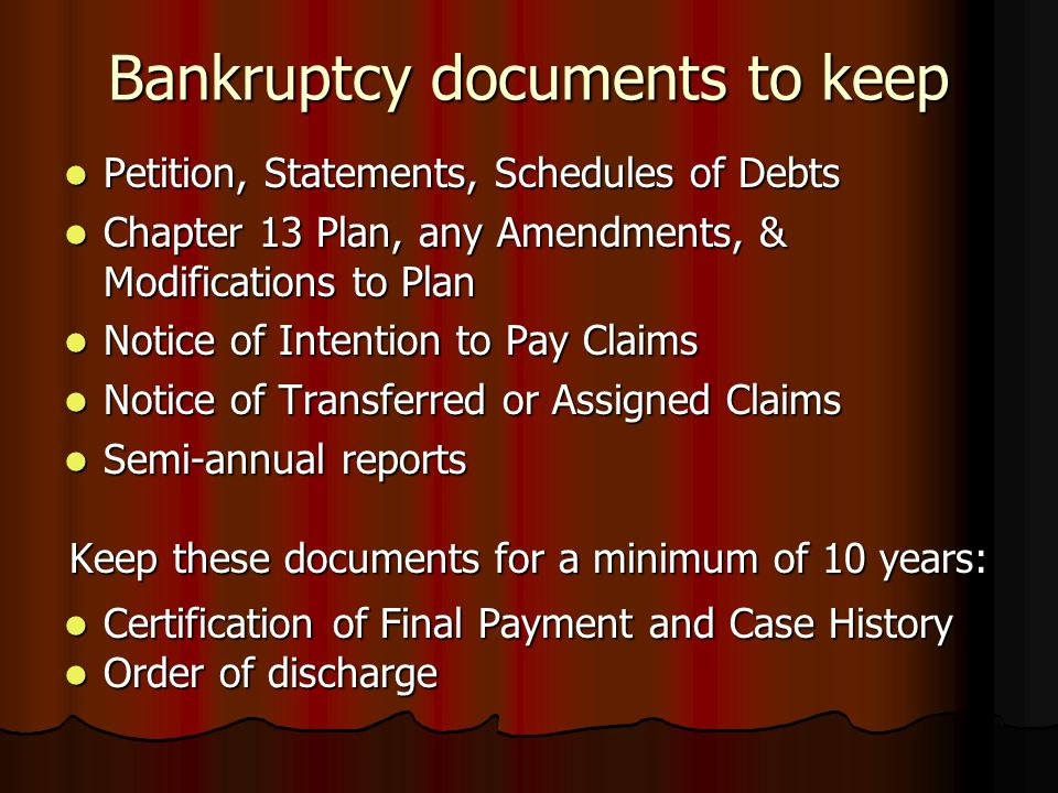 Bankruptcy documents to keep
