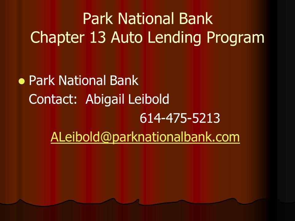 Park National Bank Chapter 13 Auto Lending Program