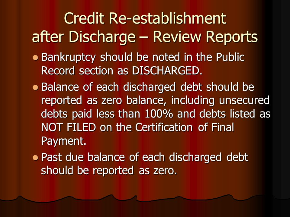 Credit Re-establishment after Discharge – Review Reports