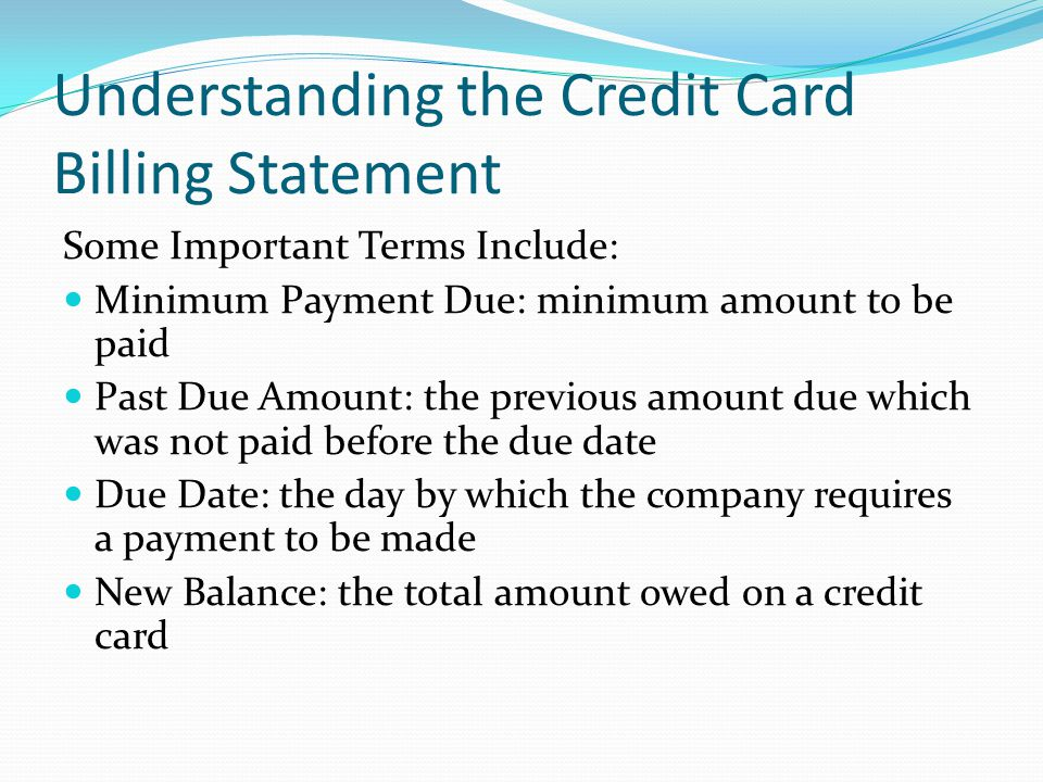 Understanding the Credit Card Billing Statement
