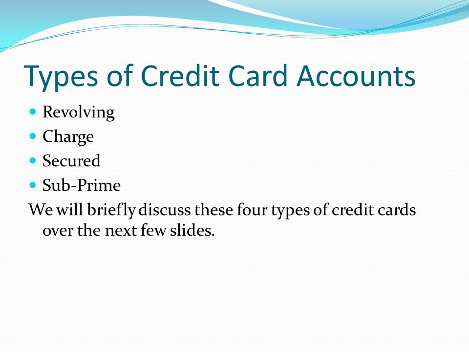 Types of Credit Card Accounts