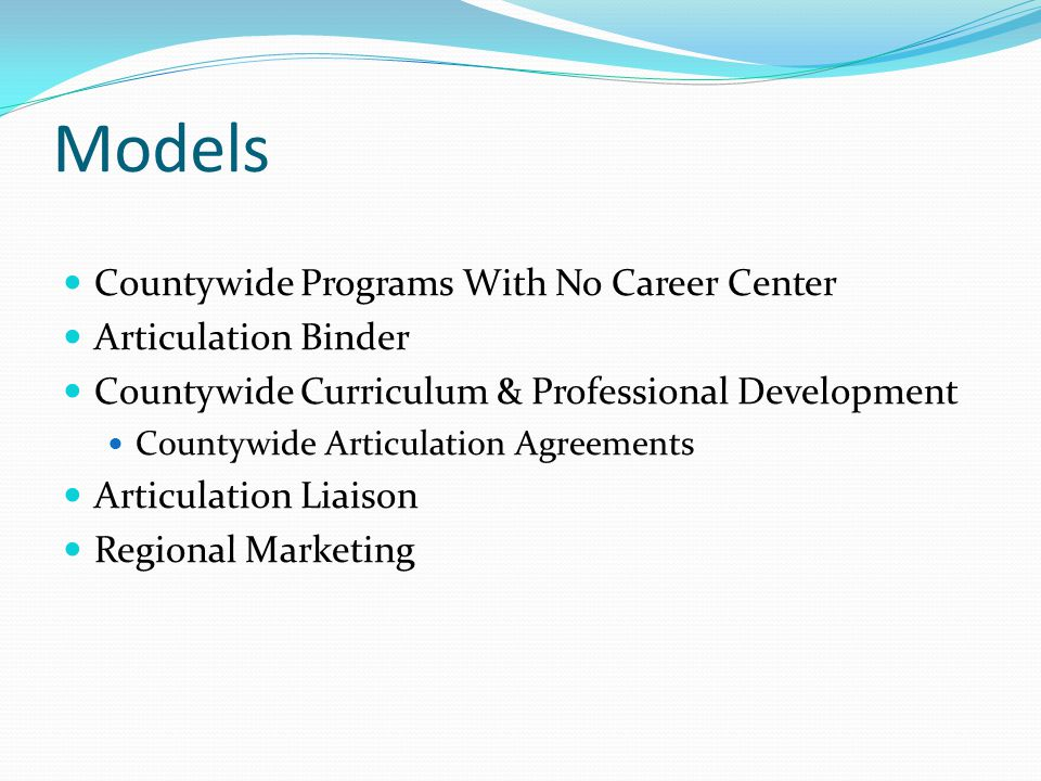 Models Countywide Programs With No Career Center Articulation Binder