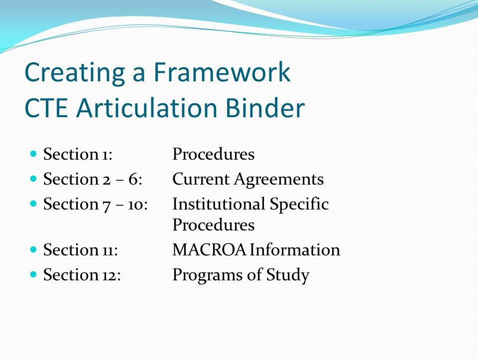 Creating a Framework CTE Articulation Binder