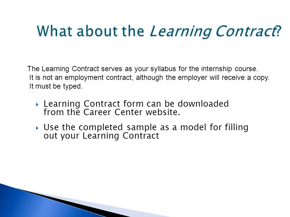 What about the Learning Contract