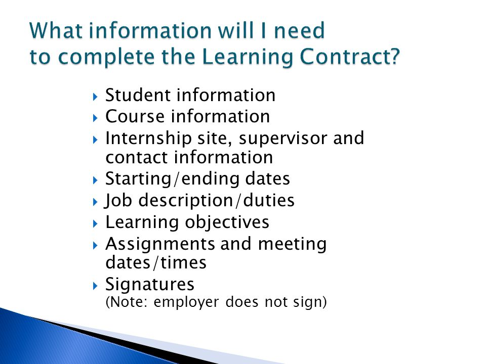 What information will I need to complete the Learning Contract