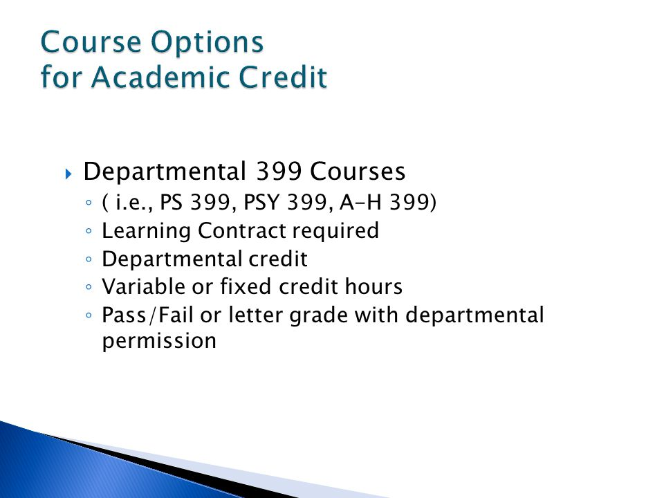 Course Options for Academic Credit