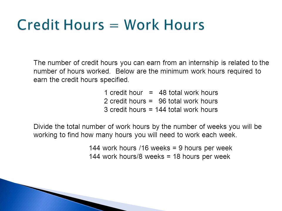 Credit Hours = Work Hours