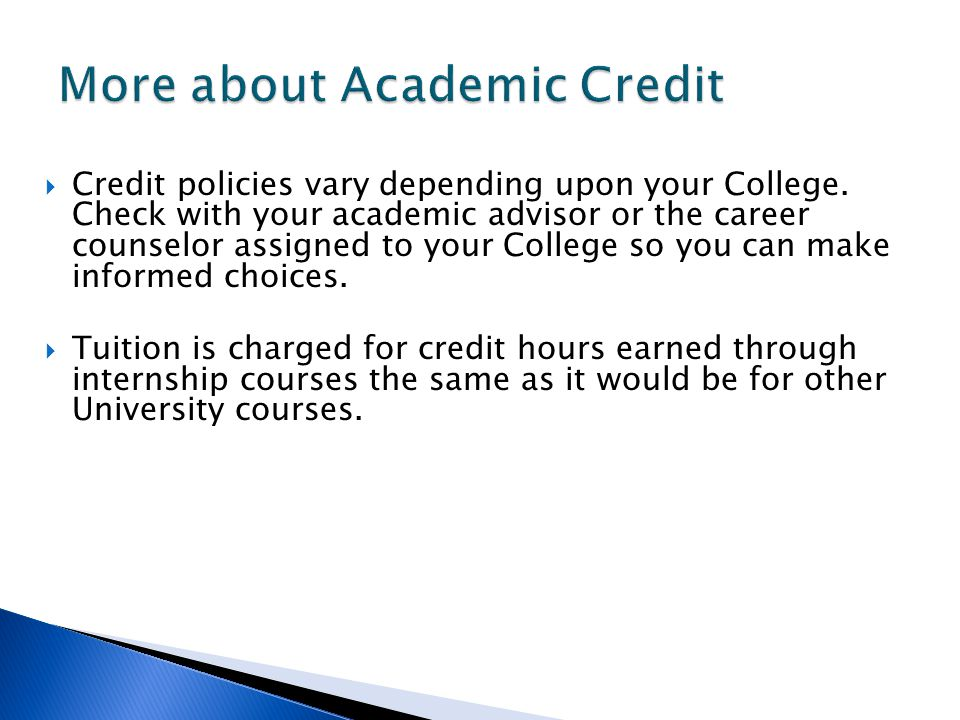More about Academic Credit