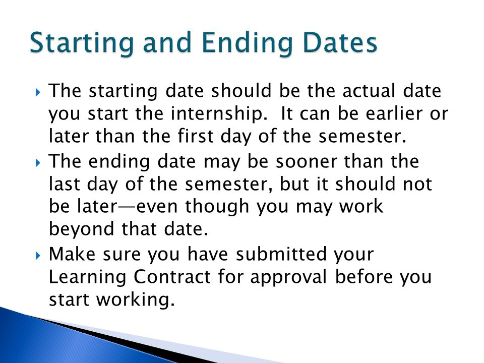 Starting and Ending Dates