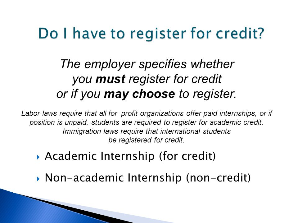 Do I have to register for credit