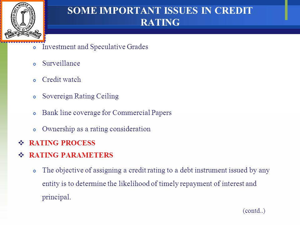 SOME IMPORTANT ISSUES IN CREDIT RATING