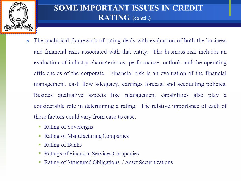 SOME IMPORTANT ISSUES IN CREDIT RATING (contd..)