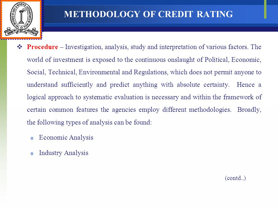 METHODOLOGY OF CREDIT RATING