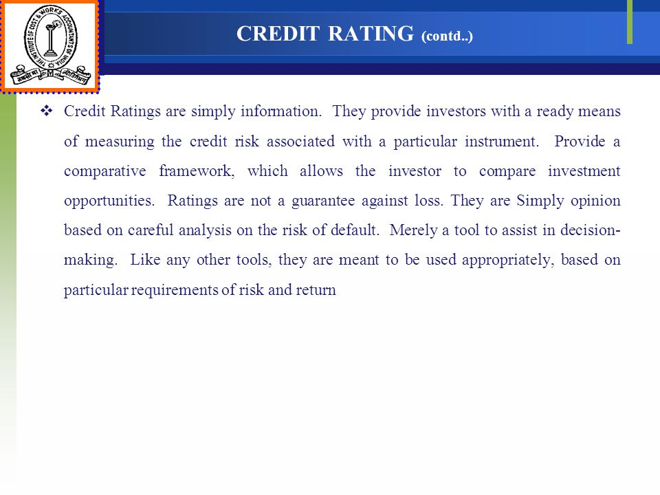 CREDIT RATING (contd..)