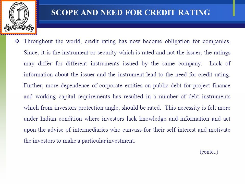 SCOPE AND NEED FOR CREDIT RATING