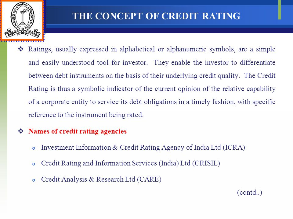 THE CONCEPT OF CREDIT RATING