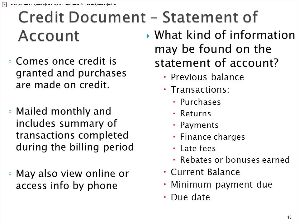 Credit Document – Statement of Account