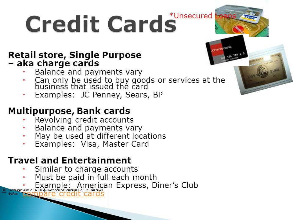 Credit Cards Retail store, Single Purpose – aka charge cards