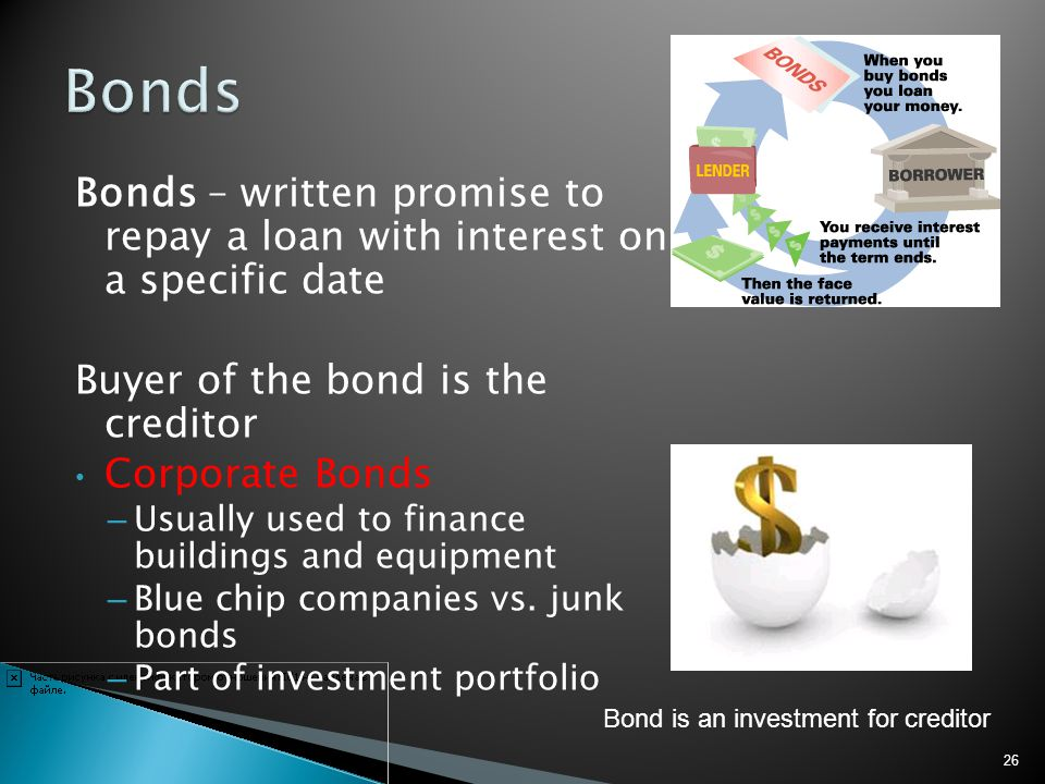 Bonds Bonds – written promise to repay a loan with interest on a specific date. Buyer of the bond is the creditor.