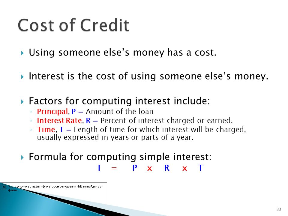 Cost of Credit Using someone else's money has a cost.