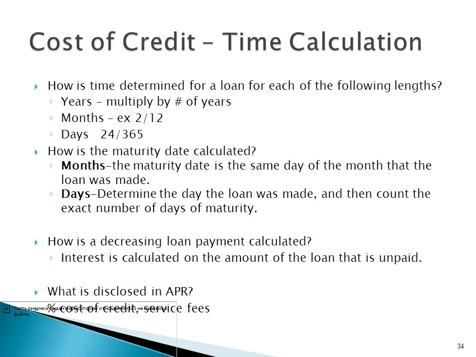 Cost of Credit – Time Calculation