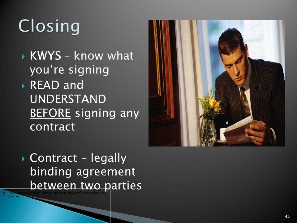 Closing KWYS – know what you're signing