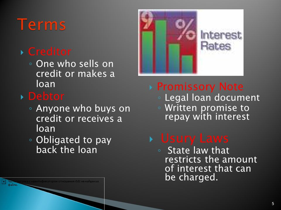 Terms Usury Laws Creditor Promissory Note Debtor