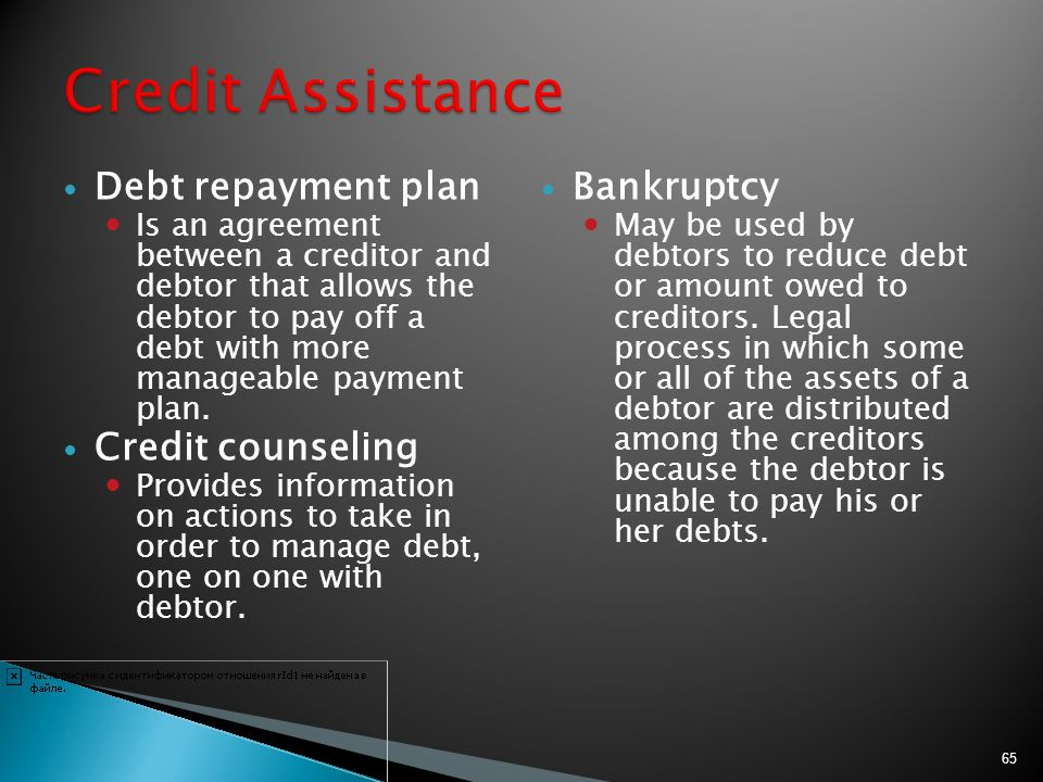 Credit Assistance Debt repayment plan Credit counseling Bankruptcy