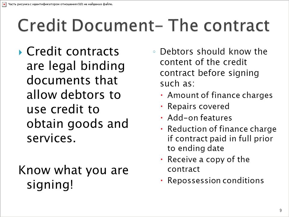 Credit Document- The contract