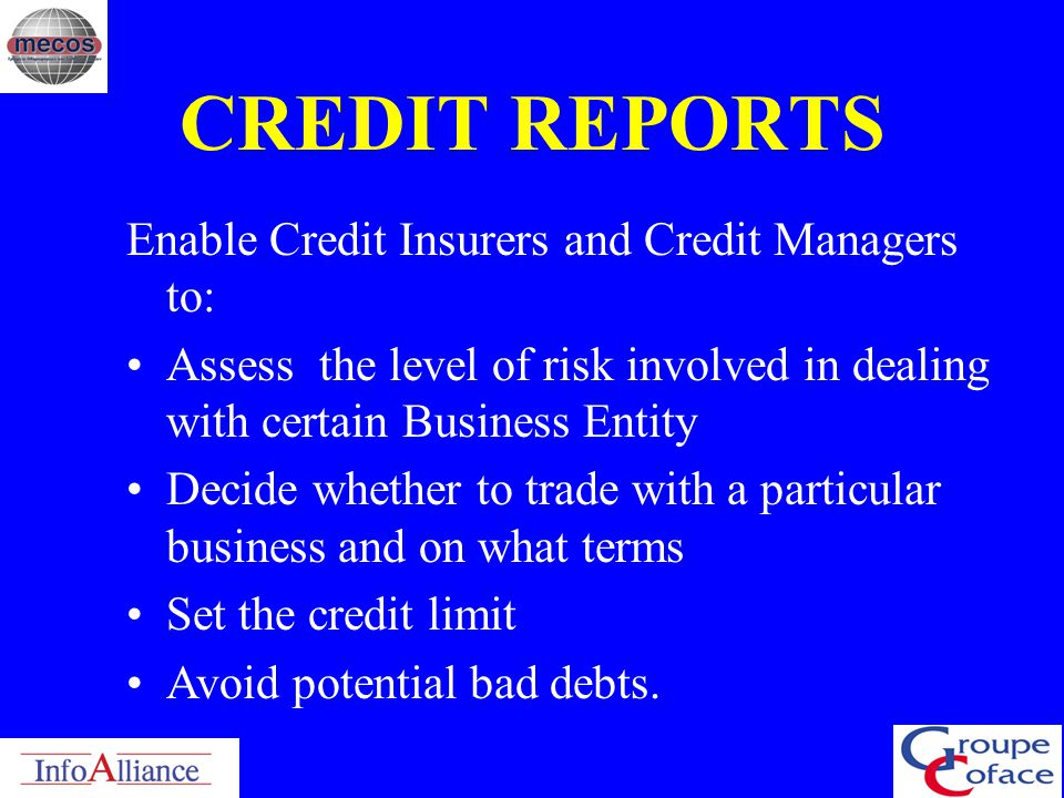 CREDIT REPORTS Enable Credit Insurers and Credit Managers to: