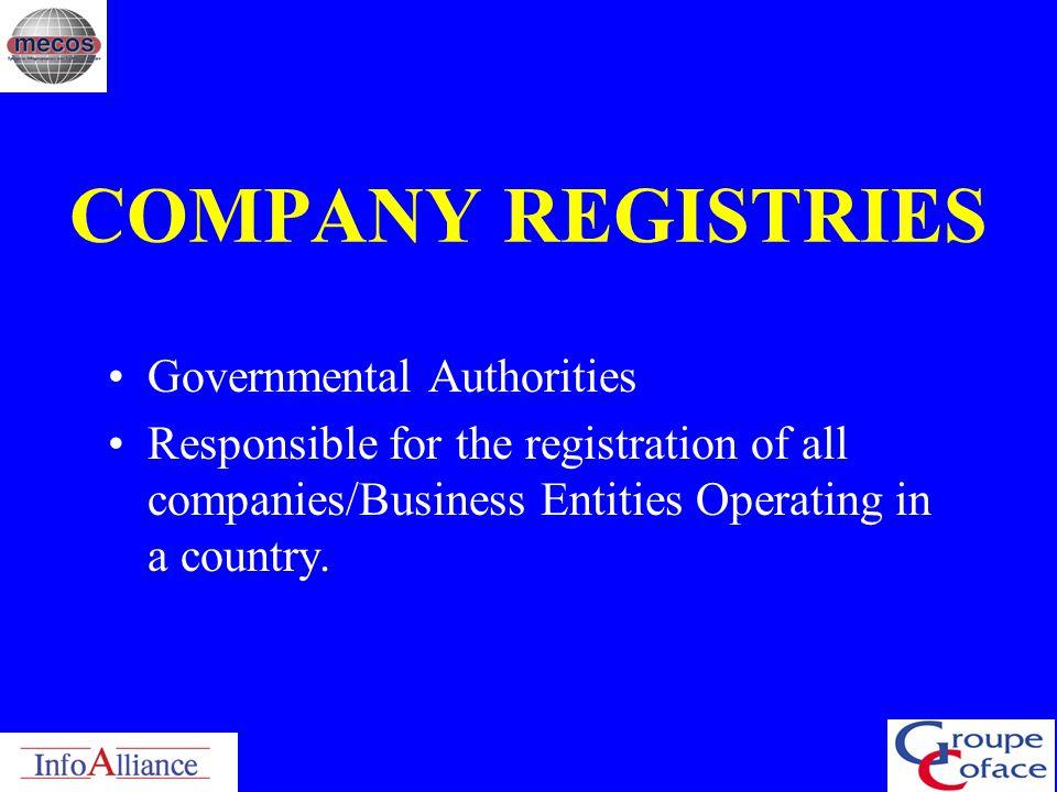 COMPANY REGISTRIES Governmental Authorities