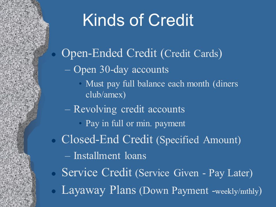 Kinds of Credit Open-Ended Credit (Credit Cards)