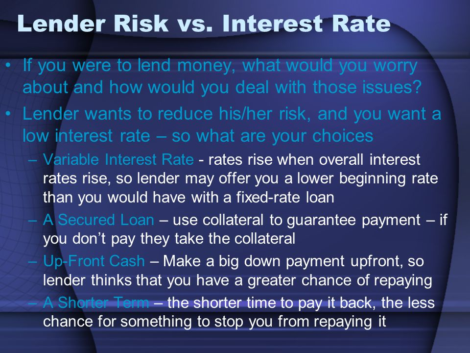 Lender Risk vs. Interest Rate