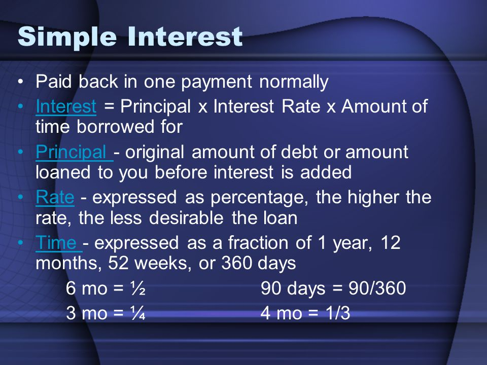 Simple Interest Paid back in one payment normally