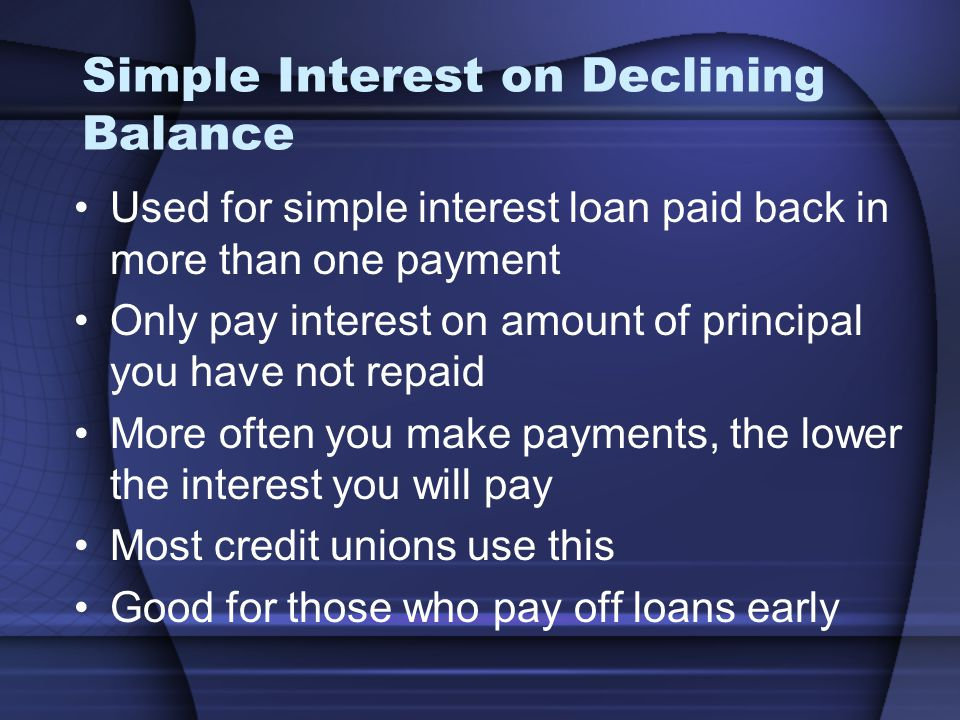 Simple Interest on Declining Balance