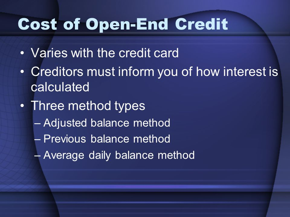Cost of Open-End Credit