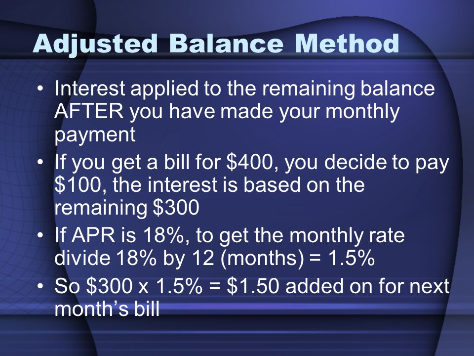Adjusted Balance Method