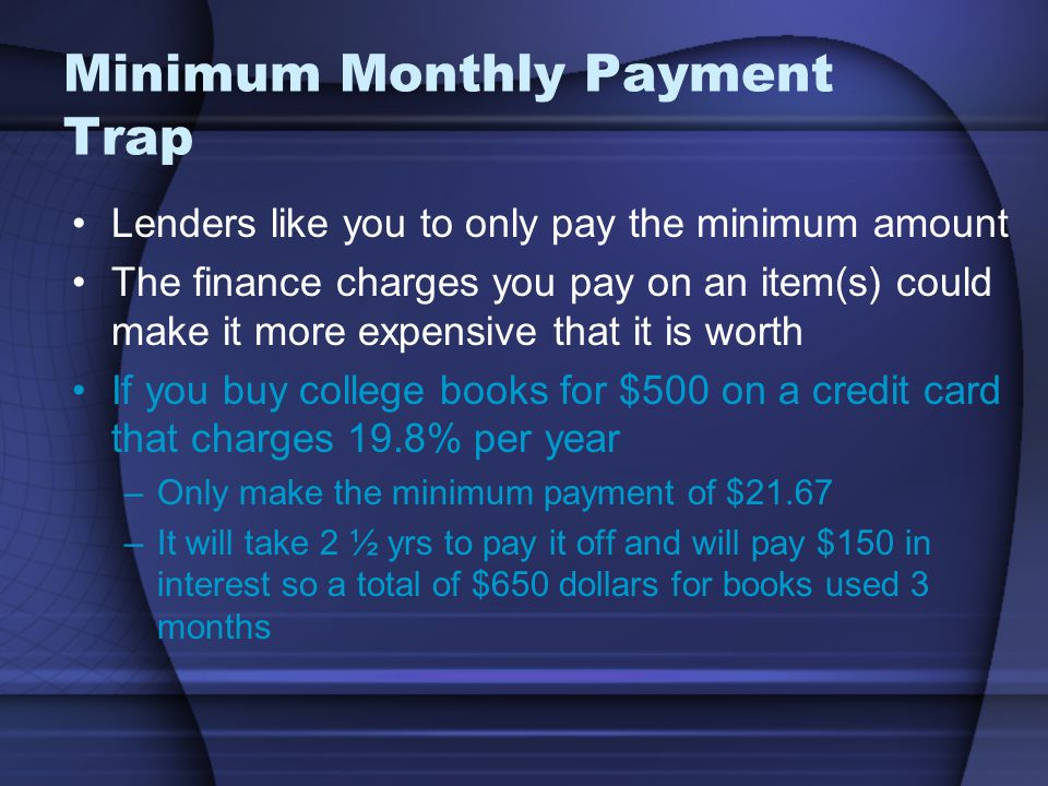 Minimum Monthly Payment Trap