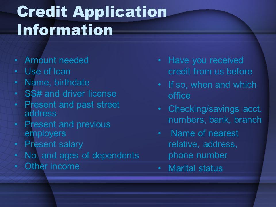 Credit Application Information