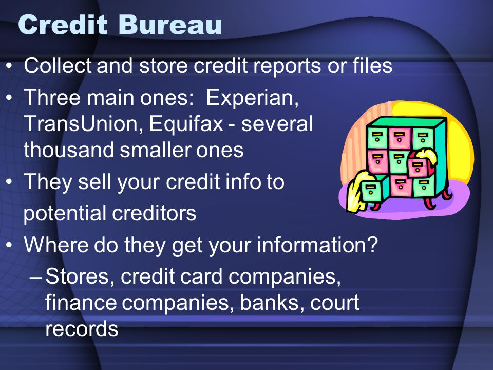 Credit Bureau Collect and store credit reports or files